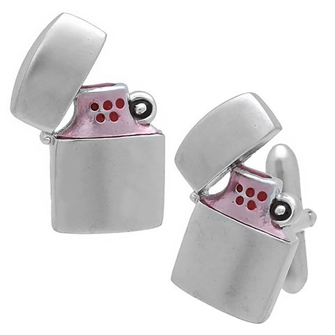 Silver Oil Lighter Cufflinks. Wear your Silver Oil Lighter Cufflinks by Tokyo Cufflinks. They also are perfect gifts for groomsmen, friends, and husbands! These Cufflinks are hand made in Japan from high-quality sturdy rhodium. The cufflinks will come in a beautiful cufflink box.