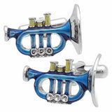 Blue Trumpet Cufflinks. Wear your Blue Trumpet Cufflinks by Tokyo Cufflinks. They also are perfect gifts for groomsmen, friends, and husbands! These Cufflinks are hand made in Japan from high-quality sturdy rhodium. The cufflinks will come in a beautiful cufflink box.