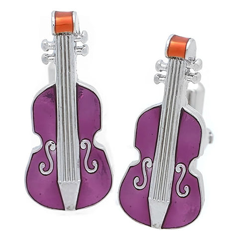 Purple Violin Cufflinks. Wear your Purple Violin Cufflinks by Tokyo Cufflinks. They also are perfect gifts for groomsmen, friends, and husbands! These Cufflinks are hand made in Japan from high-quality sturdy rhodium. The cufflinks will come in a beautiful cufflink box.