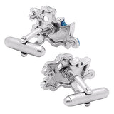 White & Blue Ship Cufflinks. Wear your White & Blue Ship Cufflinks by Tokyo Cufflinks. They also are perfect gifts for groomsmen, friends, and husbands! These Cufflinks are hand made in Japan from high-quality sturdy rhodium. The cufflinks will come in a beautiful cufflink box.
