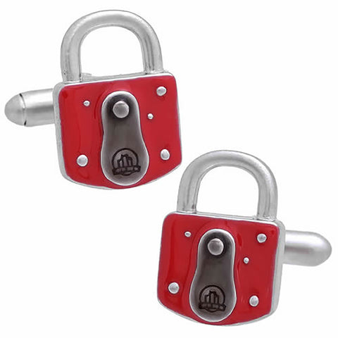 Red Padlock Key Cufflinks. Wear your Red Padlock Key Cufflinks by Tokyo Cufflinks. They also are perfect gifts for groomsmen, friends, and husbands! These Cufflinks are hand made in Japan from high-quality sturdy rhodium. The cufflinks will come in a beautiful cufflink box.
