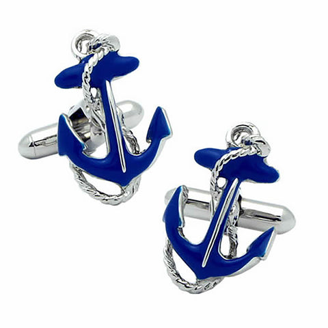 Blue Ikari (anchor) Cufflinks. Wear your Blue Ikari (anchor) Cufflinks by Tokyo Cufflinks. They also are perfect gifts for groomsmen, friends, and husbands! These Cufflinks are hand made in Japan from high-quality sturdy rhodium. The cufflinks will come in a beautiful cufflink box.