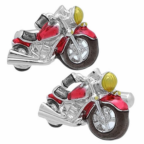 Red Bikes Cufflinks. Wear your Red Bikes Cufflinks by Tokyo Cufflinks. They also are perfect gifts for groomsmen, friends, and husbands! These Cufflinks are hand made in Japan from high-quality sturdy rhodium. The cufflinks will come in a beautiful cufflink box.