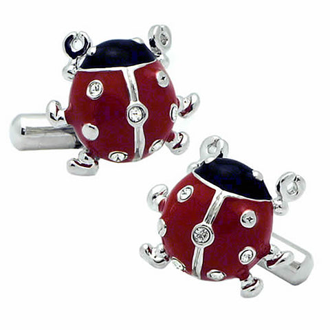 Ladybird Cufflinks. Wear your Ladybird Cufflinks by Tokyo Cufflinks. They also are perfect gifts for groomsmen, friends, and husbands! These Cufflinks are hand made in Japan from high-quality sturdy rhodium. The cufflinks will come in a beautiful cufflink box.