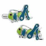 Green Grasshopper Cufflinks. Wear your Green Grasshopper Cufflinks by Tokyo Cufflinks. They also are perfect gifts for groomsmen, friends, and husbands! These Cufflinks are hand made in Japan from high-quality sturdy rhodium. The cufflinks will come in a beautiful cufflink box.