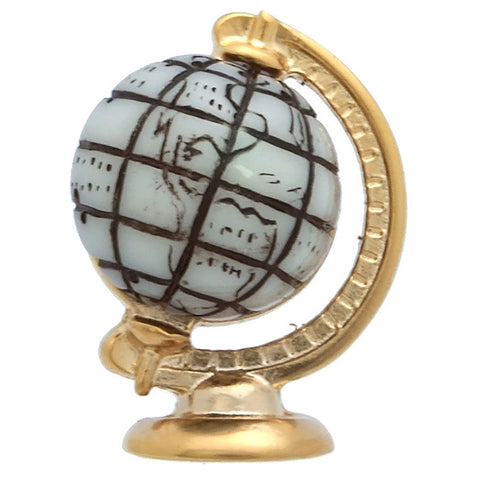 "It is a lapel Lapel Pin with a white globe. The stereoscopic shape of the globe is impressive design. Size: Approximately 5/8"" × 13/16"" in. Material: Tin alloy / Western white / Rhodium plating / Epoxy resin. Color: Gold, Yellow, White & Black. Model: P0011"