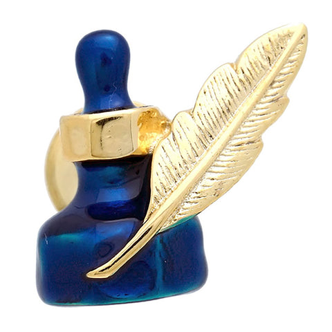 "Gold and blue ink fountain Lapel Pin. The wonderful design of the gold feather ornament in the blue ink fountain. Size: Approximately 3/4"" × 5/8"" in. Material: Tin Alloy / Western White / Rhodium Plating / Epoxy resin. Color: Gold & Blue. Model: P0014"