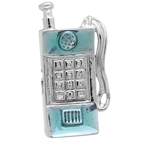 "It is a Lapel Pin of a mobile phone. Buy this Lapel Pin on the Website to get delivered in a beautiful box. Size: Approximately 3/8"" × 13/16"" in. Material: Tin Alloy / Western White / Rhodium Plating / Epoxy resin. Color: Silver & light blue."