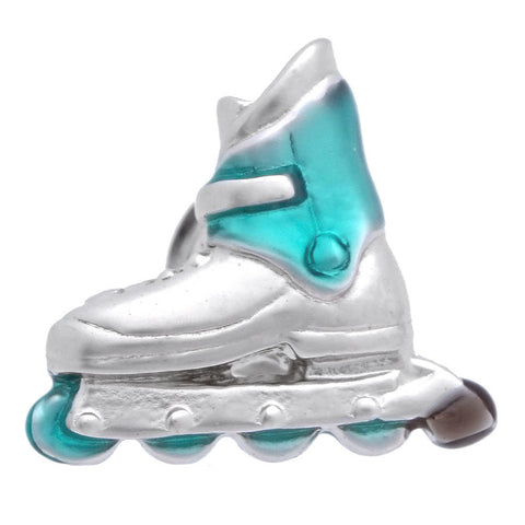 "It is a cute Roller Blade Skating Lapel Pin. Place an order on the website to get this cute lapel pin delivered in a beautiful box. Size: Approximately 3/4"" × 3/4"" in. Material: Tin alloy / Western white / Rhodium plating / Epoxy resin. Color: Silver & Blue. Model: P0047"