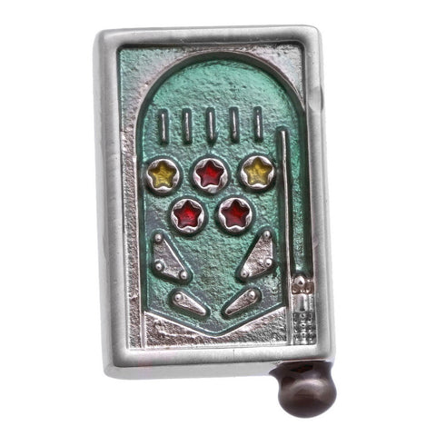 "It is a cute Pinball Lapel Pin. Buy Lapel Pins on the website to get this delivered in a beautiful box. Size: Approximately 1/2"" × 13/16"" in. Material: Tin alloy / Western white / Rhodium plating / Epoxy resin. Color: Silver, Red, Green& Yellow. Model: P0063"