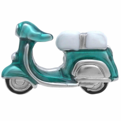 Emerald Blue Scooter Lapel Pin