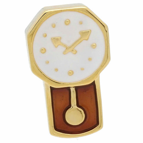 Gold Wall Clock Lapel Pin