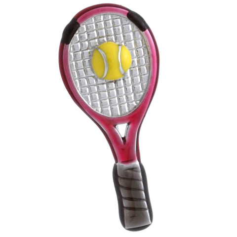 "It is a cute Tennis Racket Lapel Pin. Buy this Cute Lapel Pin on the website and get delivered in a beautiful box. Size: Approximately 7/16"" × 1-1/32"" in. Material: Tin alloy / Western white / Rhodium plating / Epoxy resin. Color: Silver, Red, Yellow & Black. Model: P0056"