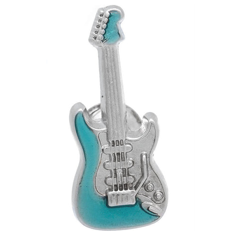 "It is a cute Blue Electric Guitar Lapel Pin. Buy this cute lapel pin on the website. Size: Approximately 1-1/16"" × 1/2"" in. Material: Tin alloy / Western white / Rhodium plating / Epoxy resin. Color: Silver & Blue. Model: P0066"