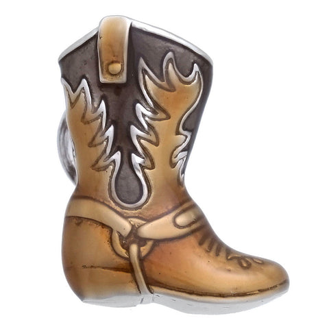 Brown Western Boots Lapel Pin
