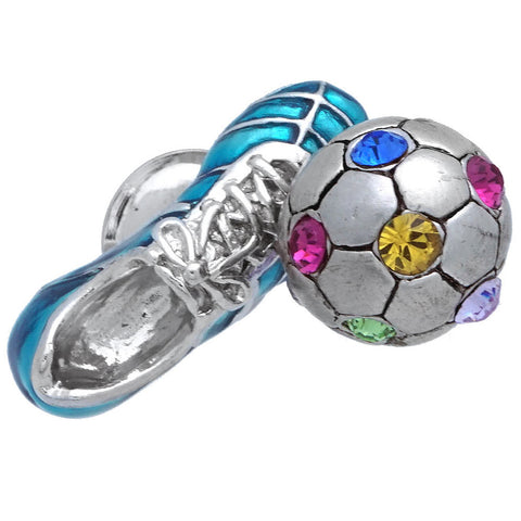 "It is a cute Soccer Shoes & Ball Blue Lapel Pin. Size: Approximately 3/4"" x 3/8"" inch. Material: Brass · Plating paint · Epoxy resin. Color: Silver, Yellow, Blue, Pink, Green & Purple. Model: P0170"