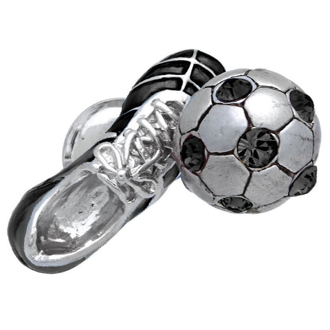"It is a cute Black Soccer Shoes & Ball Lapel Pin. Size: Approximately 3/4"" x 3/8"" inch. Material: Brass · Plating paint · Epoxy resin. Color: Silver & Black. Model: P0171"