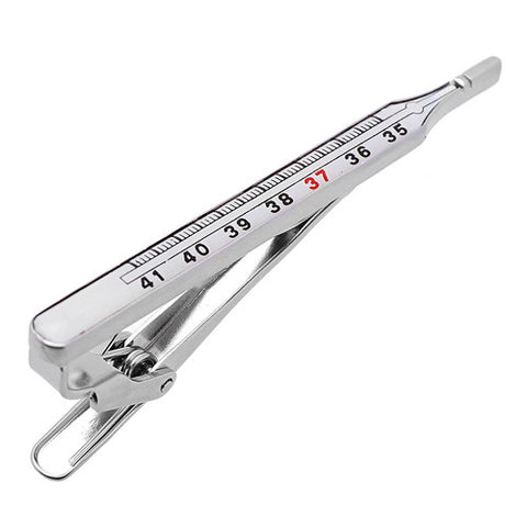 "It's a cute Thermometer Tie Clips. Place an order on the website for this tie clip and get delivered in a very beautiful box. Size: Approximately 2 1/4"" X 3/16"" inch. Material: Tin alloy / Brass / Plating process / Epoxy resin. Color: Silver, Red & Black. Model: T0033. Place an order on the website and get free shipping."