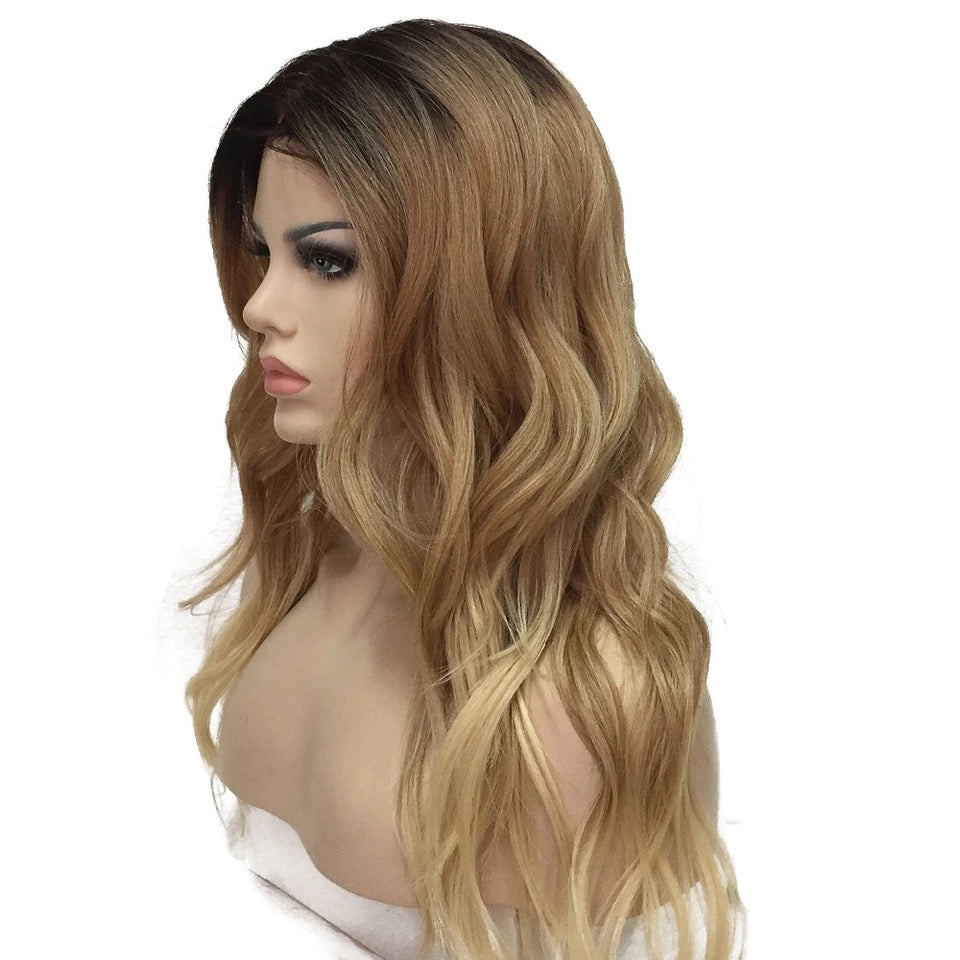 Custom High Quality Handmade Natural Ombre Wavy Synthetic Full Long