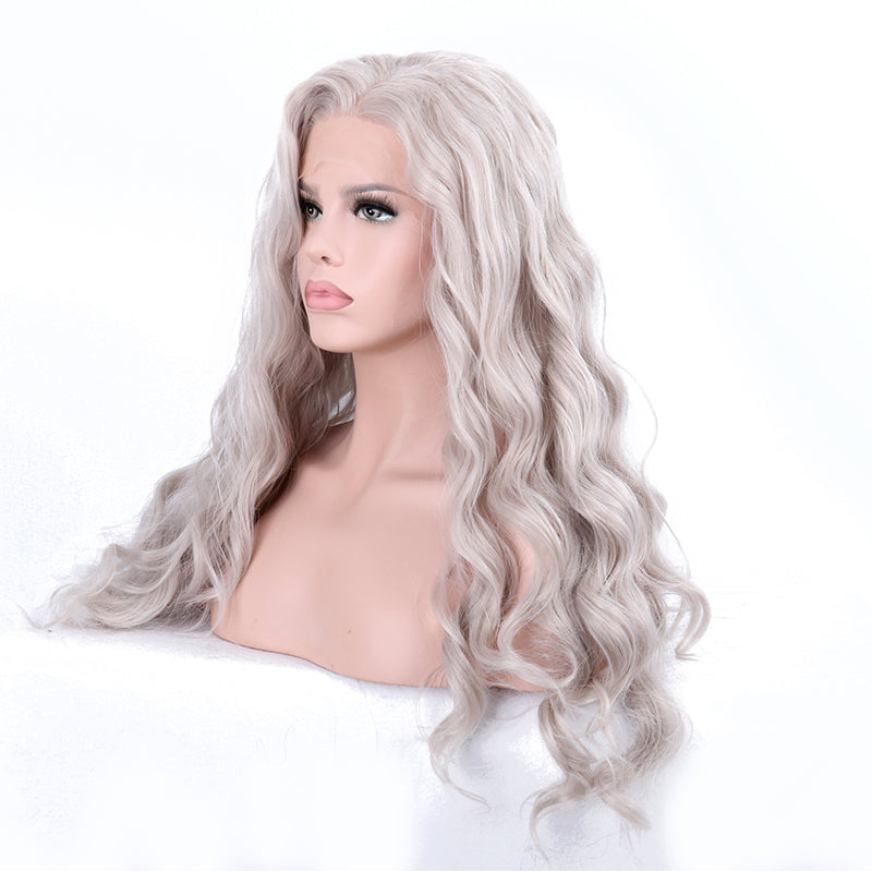 Womens Natural Wavy Light Grey Silver Platinum Blonde Thick Lace Front Long  Full Hair Wig 00ed6dde21