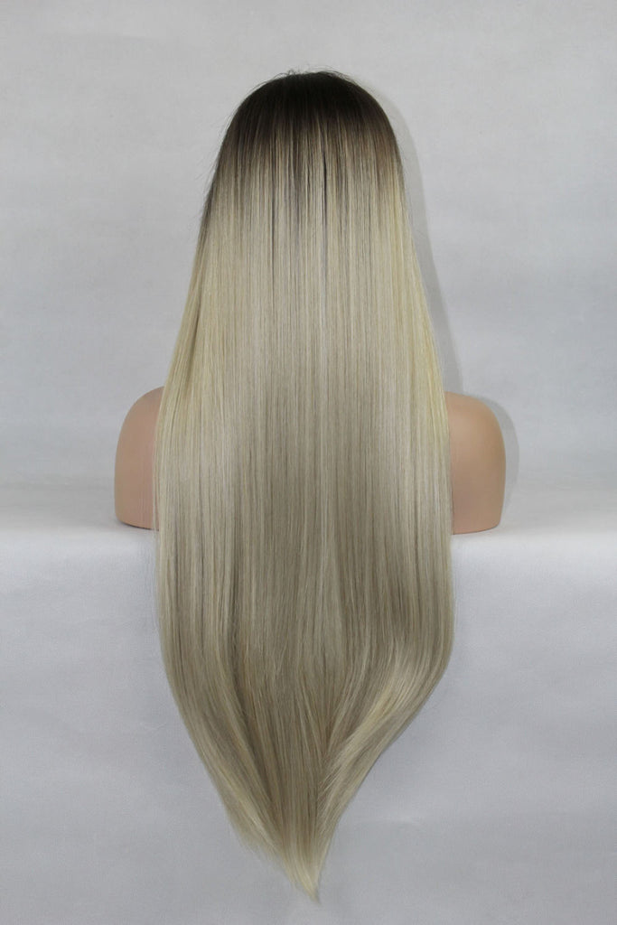 Ash Platinum Light Blonde Lace Front Wig Natural Long Straight Ombre