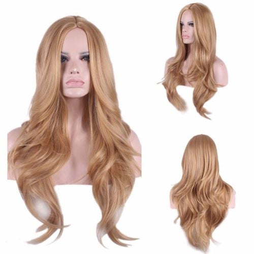 Custom unique style natural light strawberry blonde auburn synthetic long  thick wavy layers womens full hair 25069fe4d