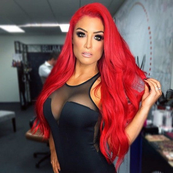 Natural Custom Celebrity Fire Light Red Eva Marie High Quality Synthetic Long Wavy Thick Full Womens Hair Wig Curls