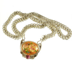 Cloisonne enamel on handwoven chain