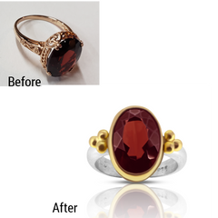 Custom re-set garnet ring