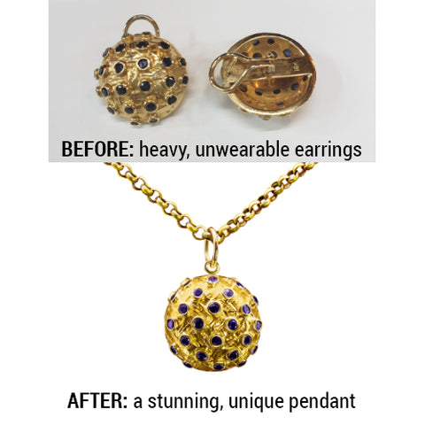 Before and After Gold and Sapphire Earrings