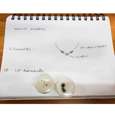 sketch for diamond and emerald necklace