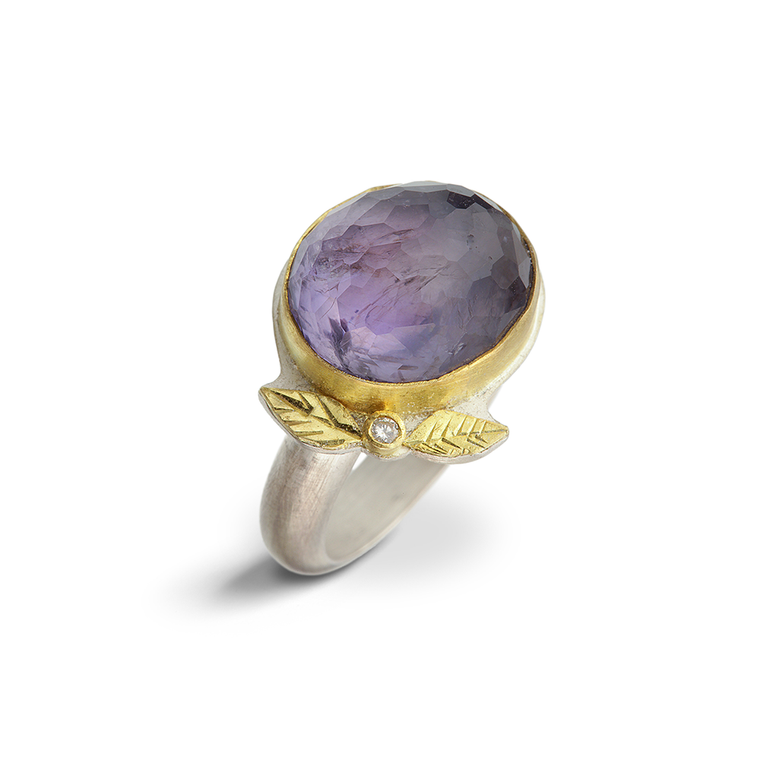 Iolite and Diamond Leaf Ring - Nancy Troske Jewelry