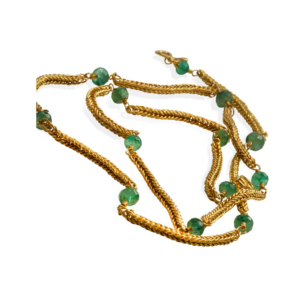 Ancient Weave 22k Gold & Emerald Chain - Nancy Troske Jewelry