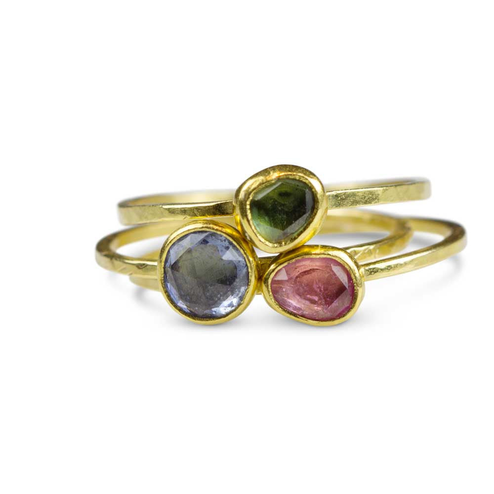 Fancy Sapphire Stacking Rings - Set of 3 - Nancy Troske Jewelry