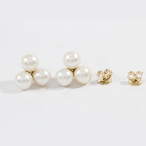 Three Pearl Earrings - Nancy Troske Jewelry