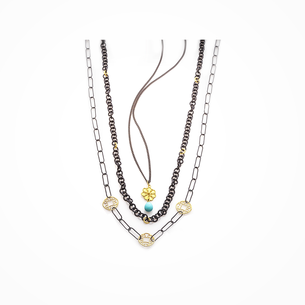 Gold Rosette Necklace Turquoise Teardrop - Nancy Troske Jewelry