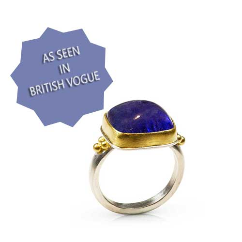 Alexa Ring - Tanzanite Cabochon with 22K Granulation