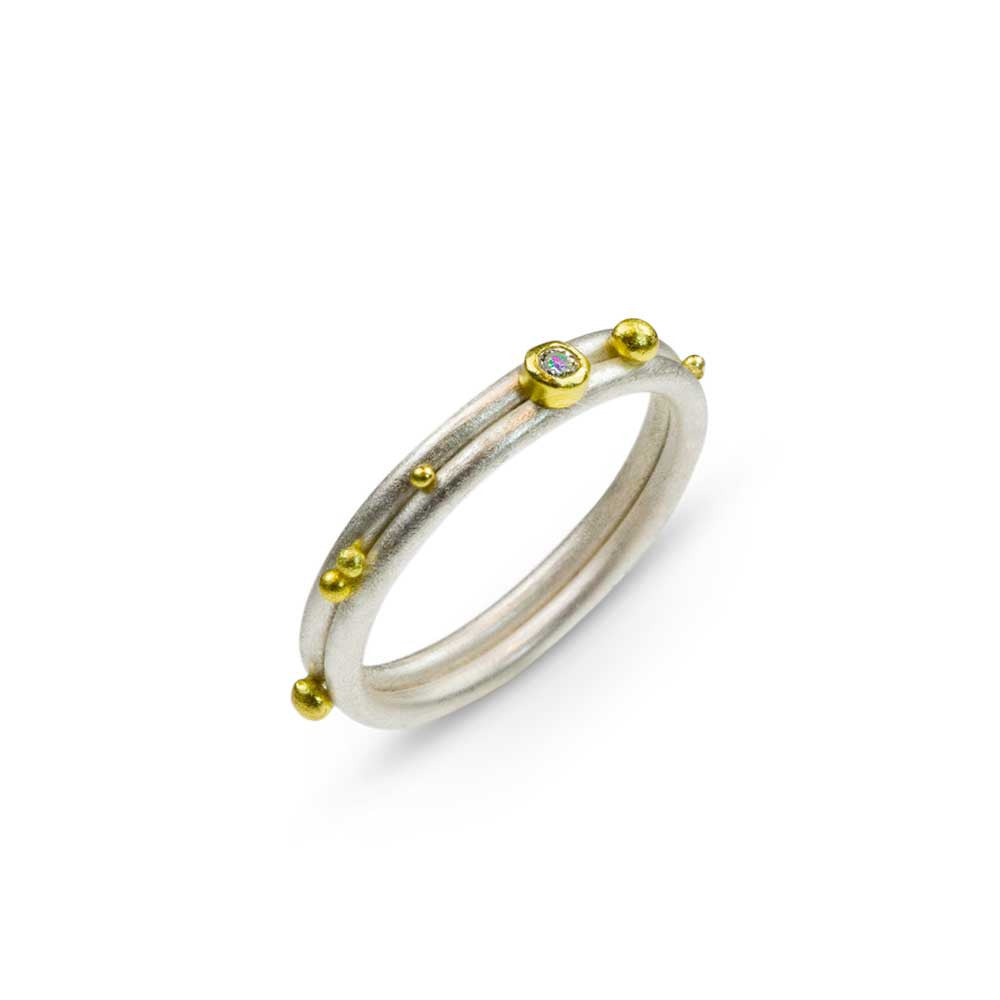 Asymmetrical Wedding Ring - 22k and Silver - Nancy Troske Jewelry