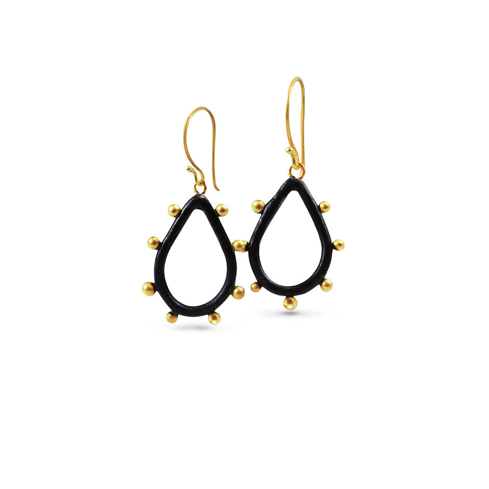 Nancy Troske Jewelry - 22K Gold Granulated on Silver Earrings