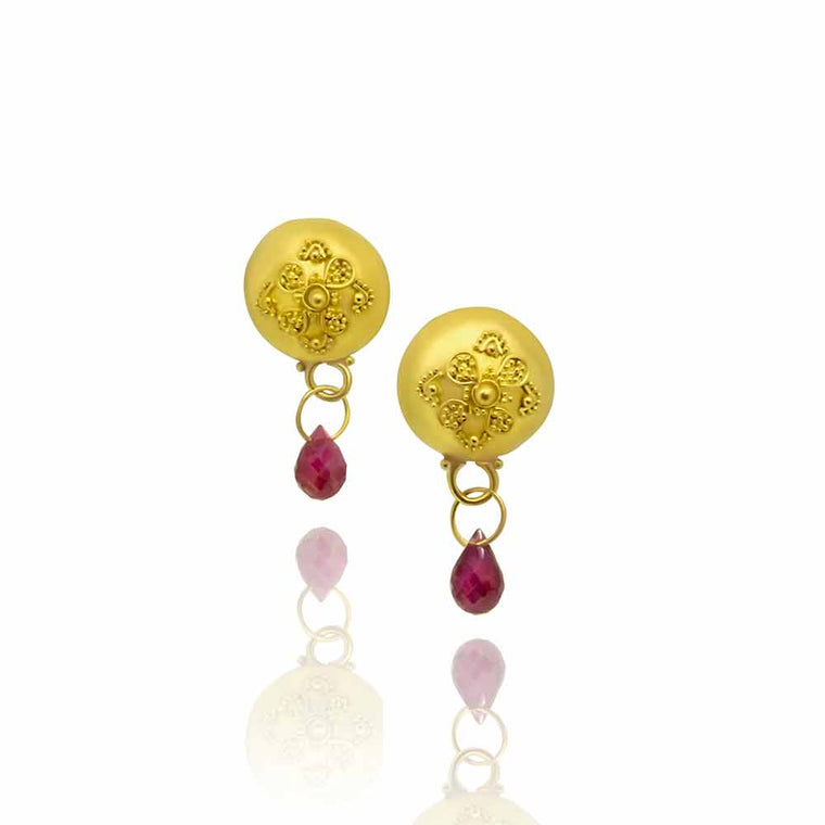 Call of the Nile 22K and Ruby Earrings - Nancy Troske Jewelry