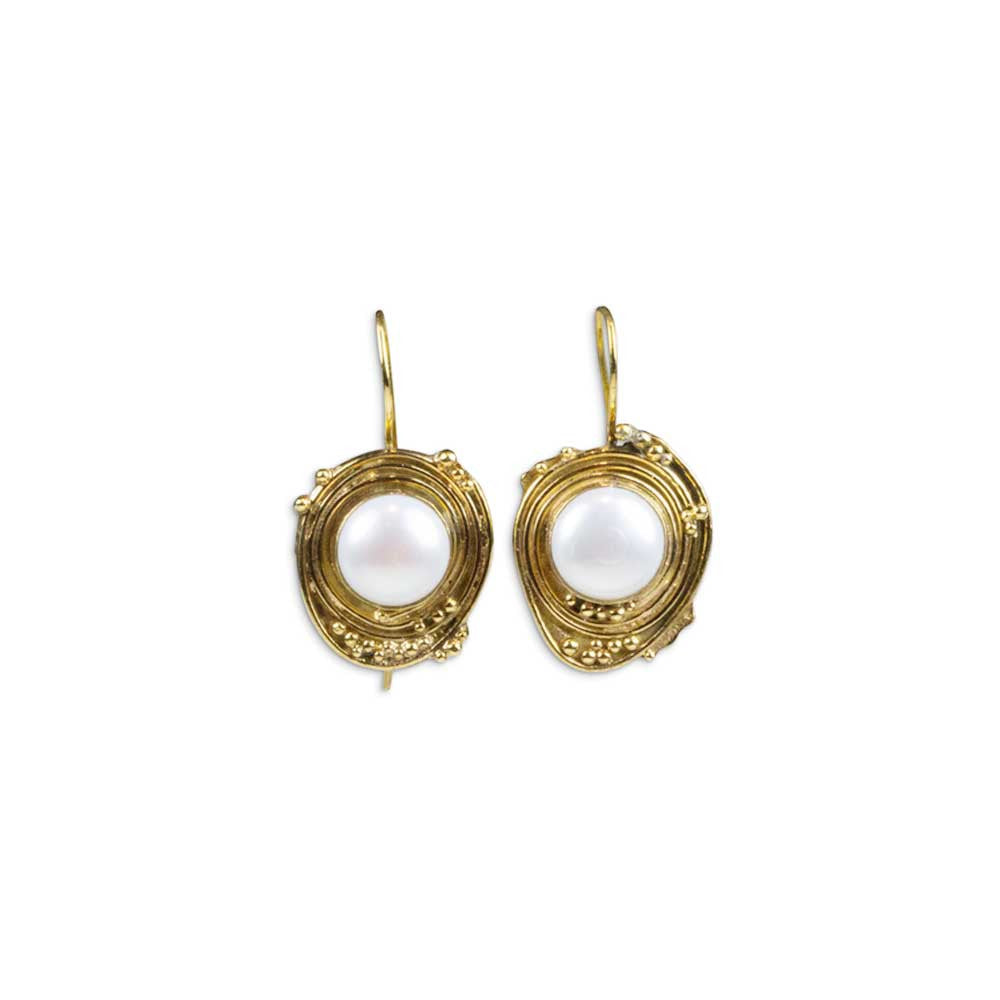 Mabe Pearl Granulated Earrings in Vermeil - Nancy Troske Jewelry