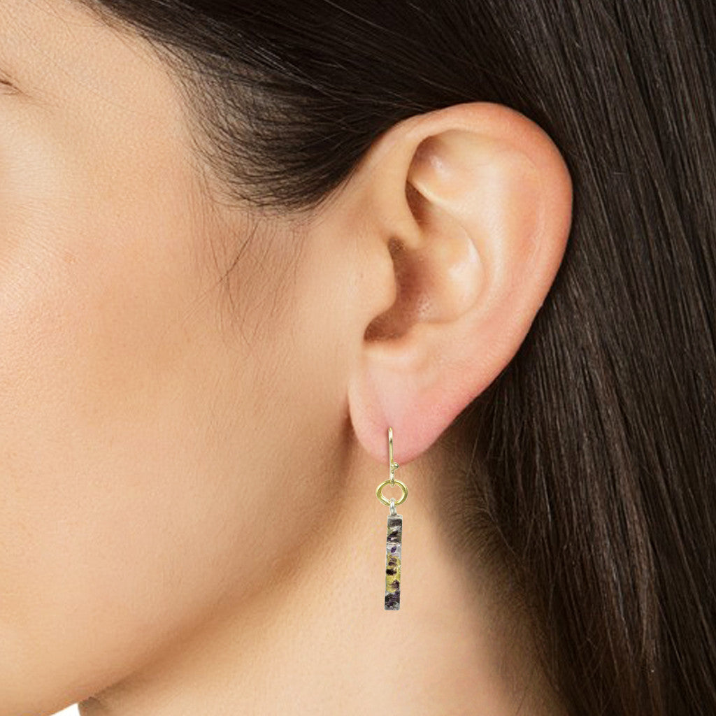 Nancy Troske Jewelry - 24K Gold and Silver Earrings, black silver and fused gold hammered earrings