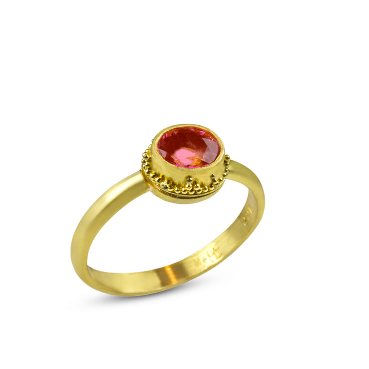 Nancy Troske Jewelry - Granulation in 22k and Tourmaline Ring