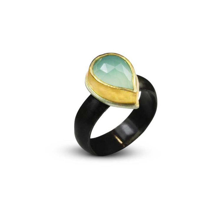 Nancy Troske Jewelry - 22K Gold and Silver Ring, black silver and chalcedony