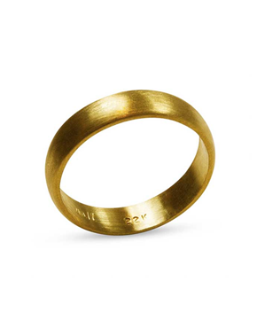 22k Burnished Gold Wedding Ring - Nancy Troske Jewelry