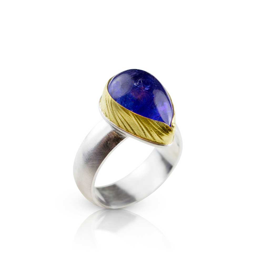 Nancy Troske Jewelry - Tanzanite and 22 karat gold ring on silver band