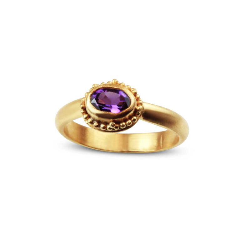 Granulated Amethyst Ring