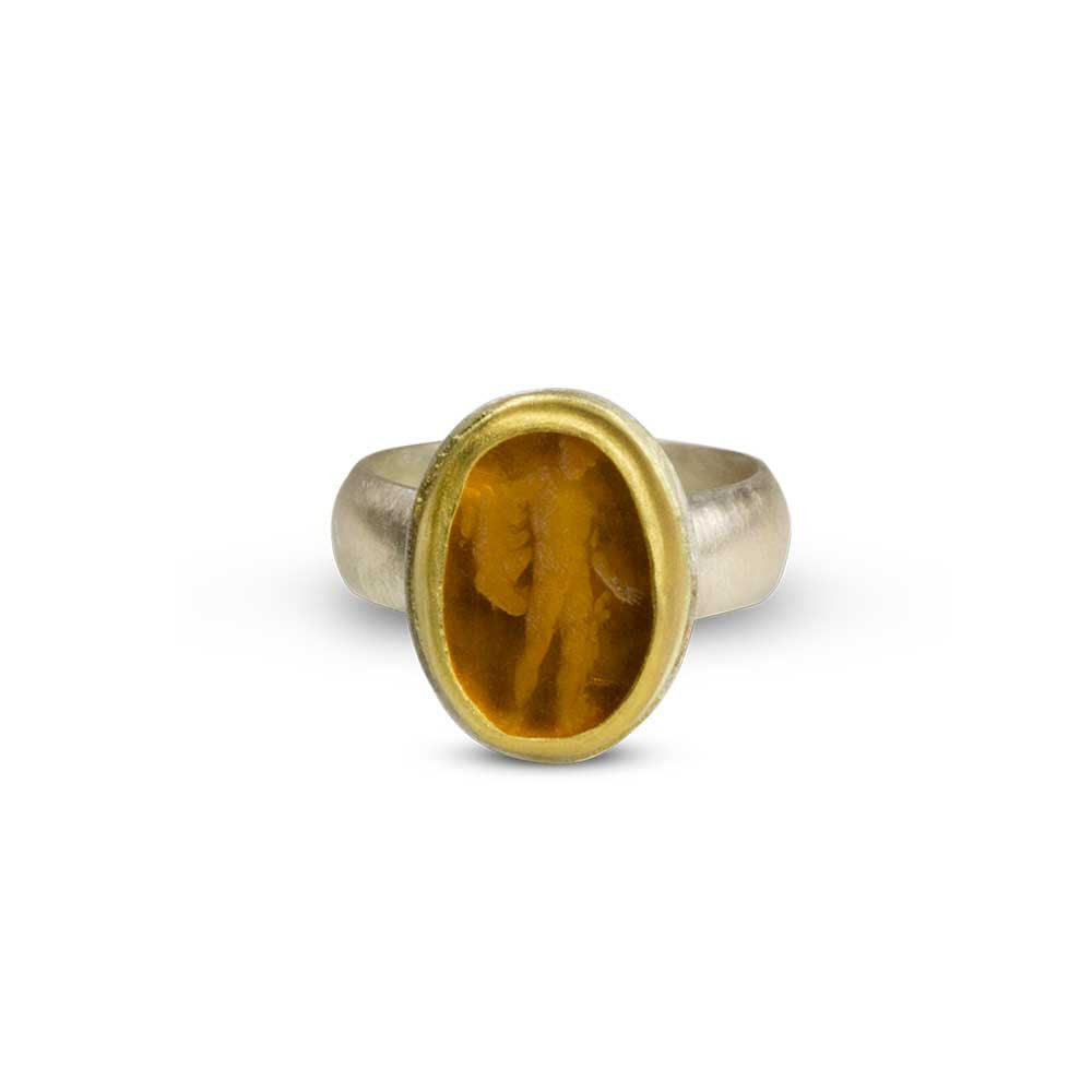 Apollo Venetian Glass Intaglio Ring - Nancy Troske Jewelry