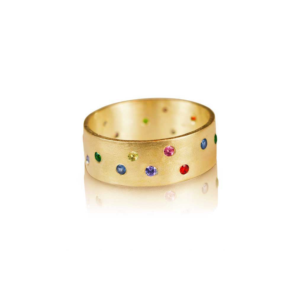 Aurora - 22k Wedding Ring with Colored Diamonds - Nancy Troske Jewelry