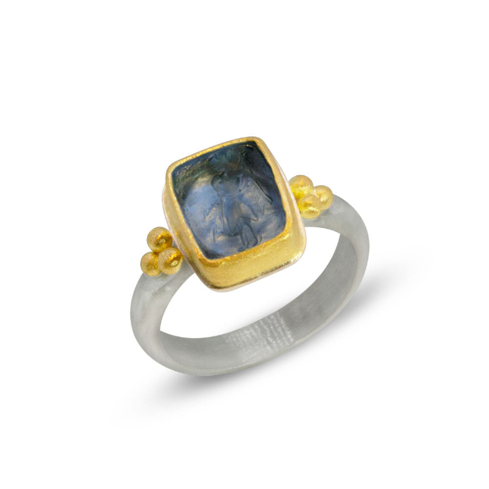 Nancy Troske Jewelry - glass intaglio, 22k and silver ring